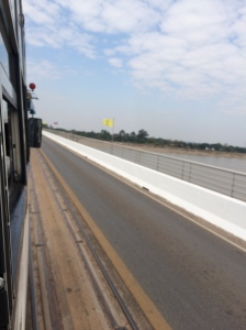 Bus across the Thai-Laos Friendship Bridge